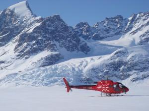 Heli landing in Greeland