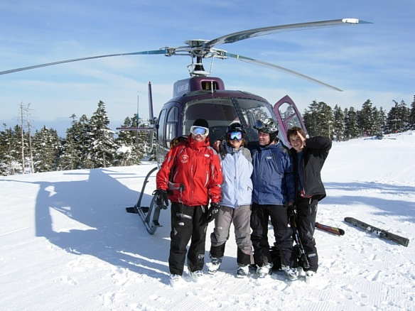 Family heli skiing in Japan