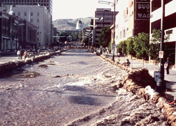 Flooding of State Street in 1983